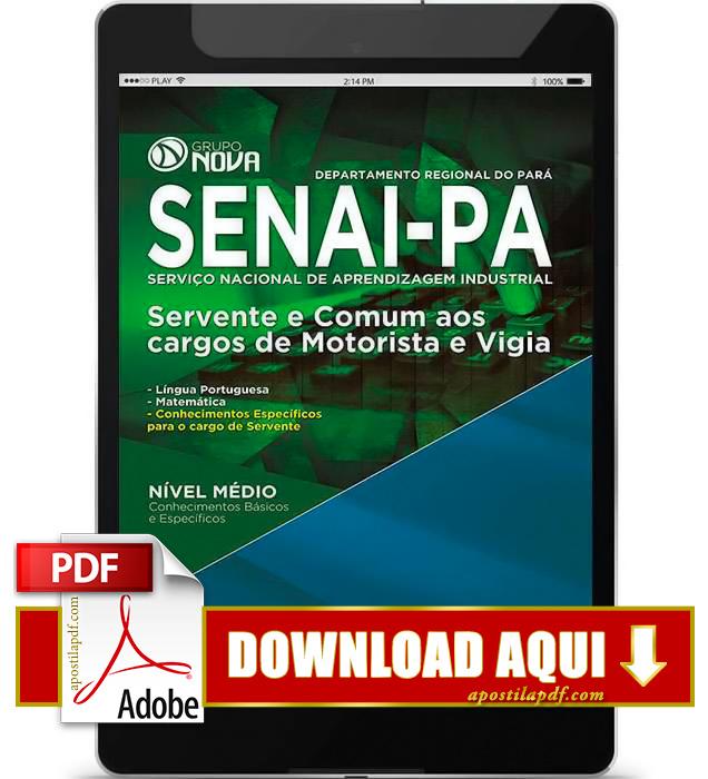 Apostila SENAI PA 2015 Servente, Motorista e Vigia PDF Download