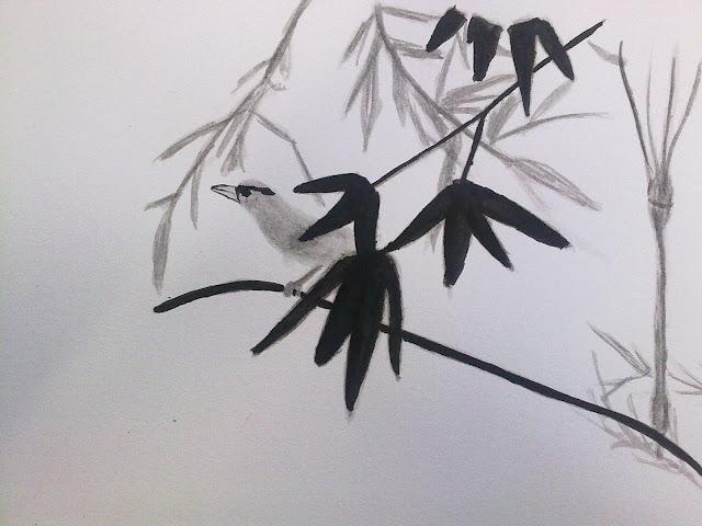 dibujar aves con tinta china