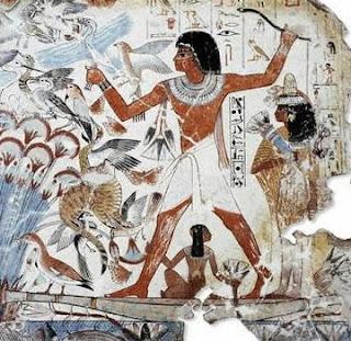 Artes figurativas egipcias. egipto. tumba de Nebamon. Escena de caza en los pantanos. Arte egipcio