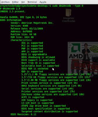 Imagen de cómo obtener información del BIOS en Ubuntu 10.04
