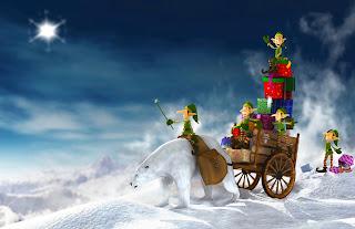 Tarjeta de Navidad Duendes y Oso Polar