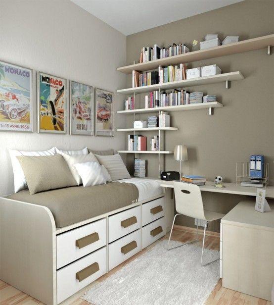 55 ideias para quartos pequenos Assuntos Criativos ~ Quarto Solteiro Pequeno Ideias