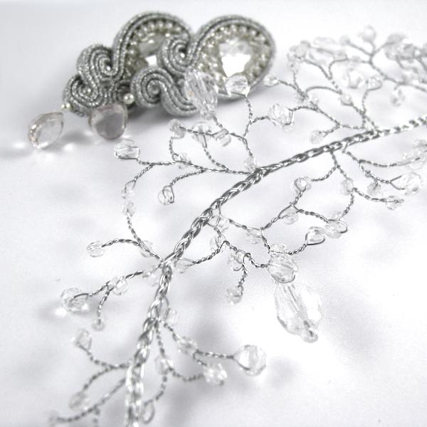 Kryształowy stroik ślubny Airy - gałązka do włosów