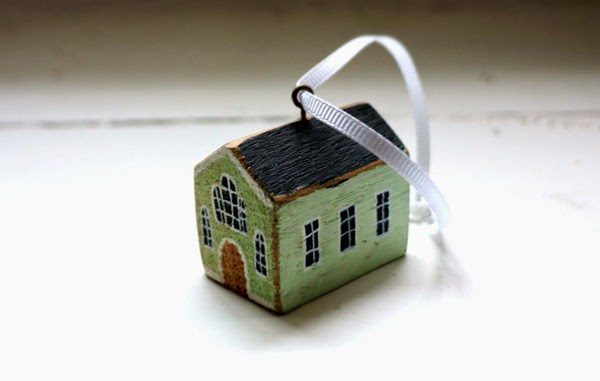 valeriane leblond painted wooden green huse ornament