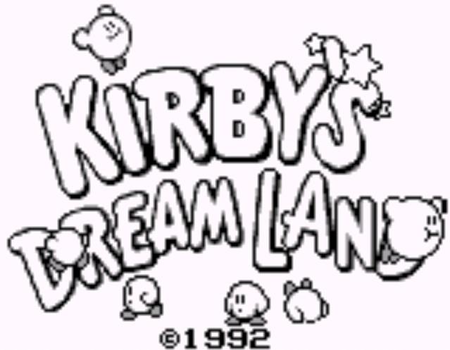Pantalla inicial de Kirby's Dream Land, Game Boy, 1992