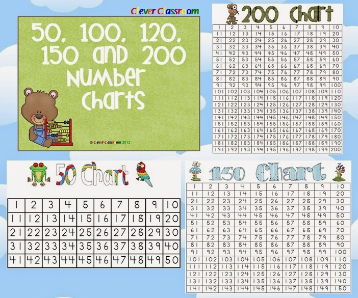 Number Charts - 50, 100, 120, 150 and 200