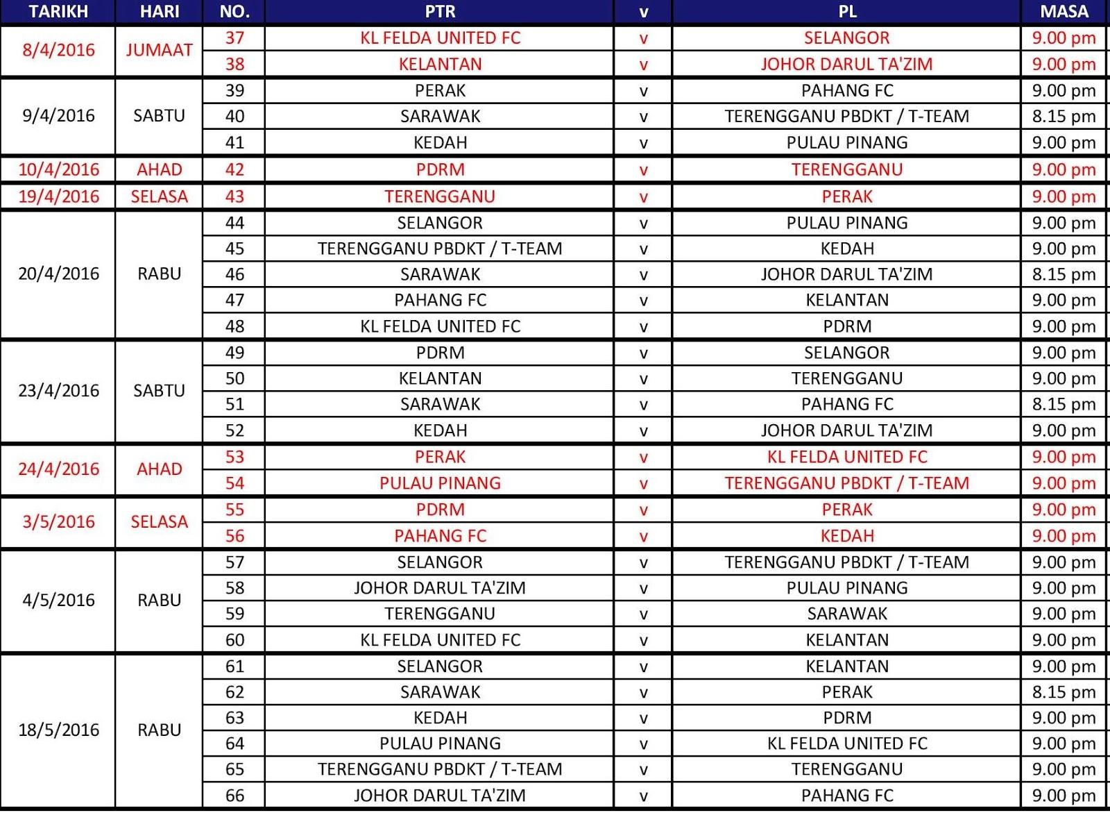 Jadual perlawanan Liga Super 2016