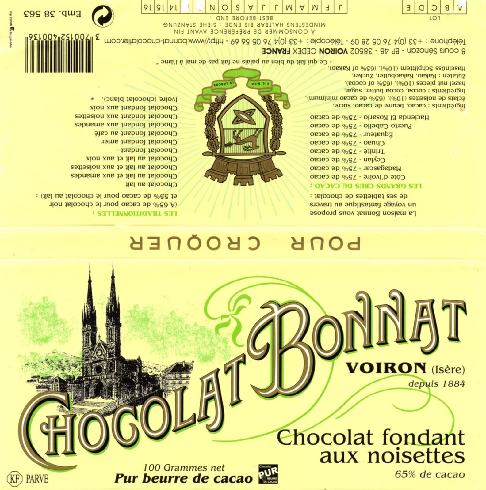 tablette de chocolat noir gourmand bonnat noir fondant aux noisettes