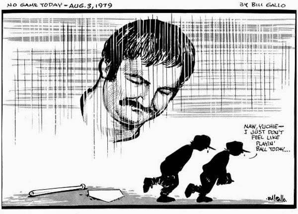 Bill Gallo cartoon... Thurman Munson gone Aug 3, 1979
