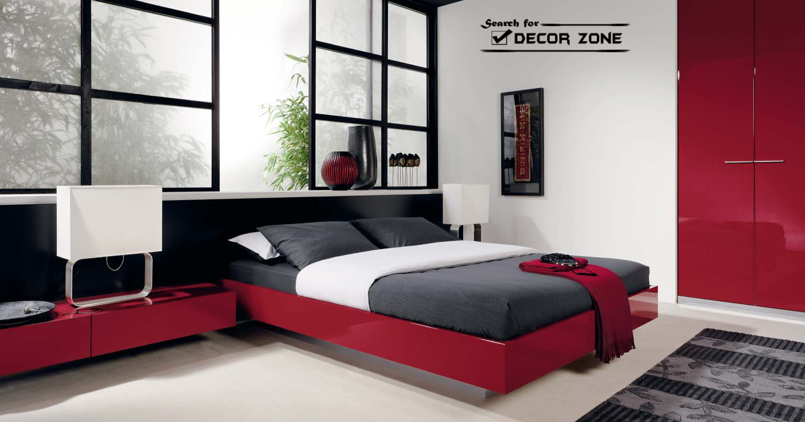 Modern bedroom furniture sets 20 ideas and designs for Red modern decor