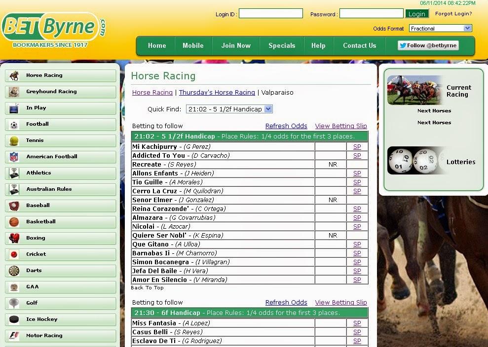 BetByrne Horse Racing Screen