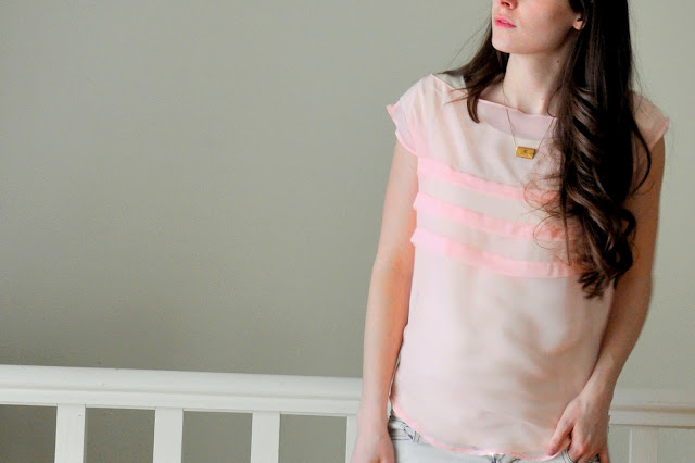Sheer Pintuck Top via Cotton & Curls