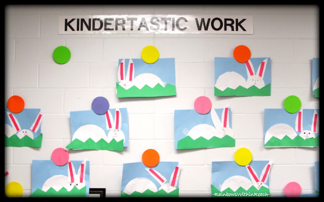 photo of: Kindertastic Work Bulletin Board with permanent 'spots' for display via RainbowsWithinReach