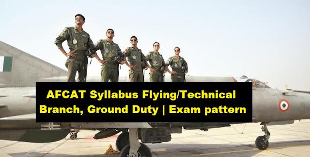 AFCAT Syllabus Flying/Technical Branch, Ground Duty | Exam pattern