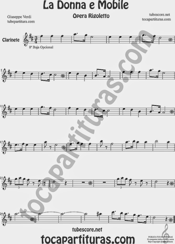 La Donna e Mobile Partitura de Clarinete Sheet Music for Clarinet Music Score Ópera Rigoletto by G. Verdi