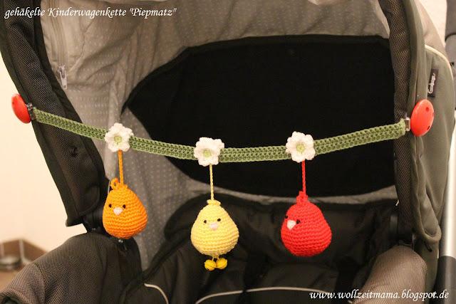 """Häkeln: Kinderwagenkette """"Piepmatz"""" als Geschenk zur Geburt oder Weihnachtsgeschenk, mit kostenloser Anleitung"""