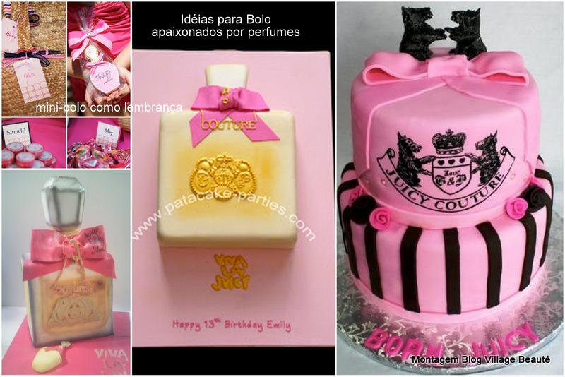 decoração de festa com bolo em formato de perfume