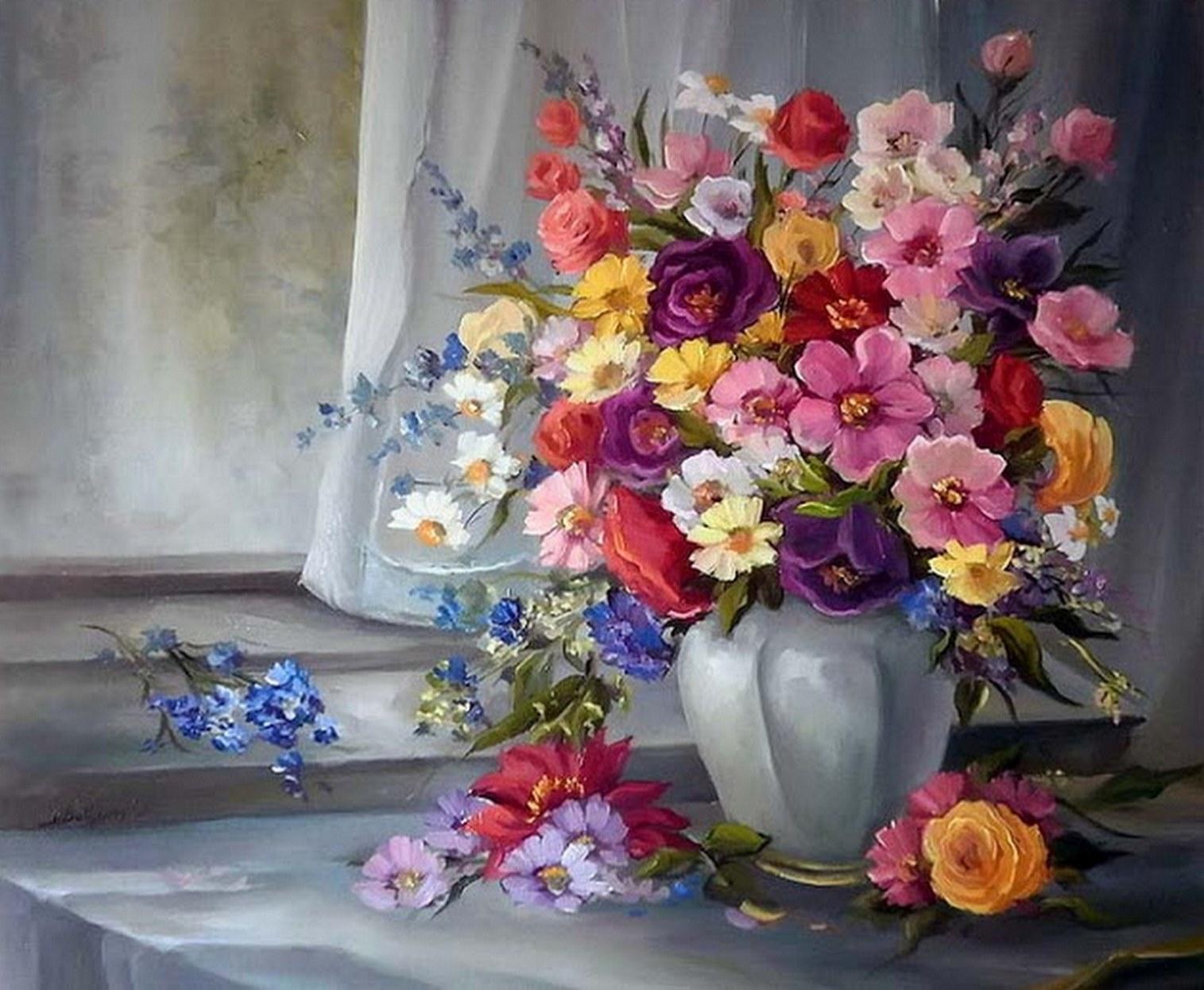Cuadros modernos pinturas y dibujos jarrones y flores al for Pinturas para decorar