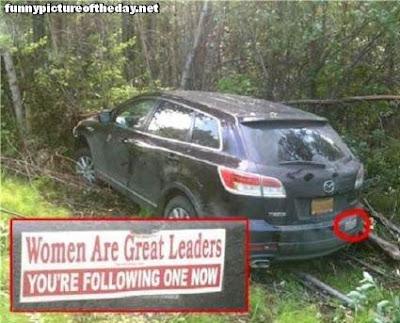 Car Crash Funny Bumper Sticker Women Are Great Leaders Sexist Humor