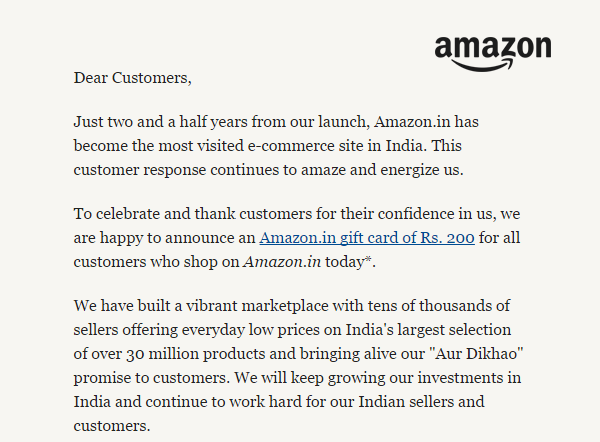 Get Amazon.in gift card of ₹200 on purchase of ₹500 today