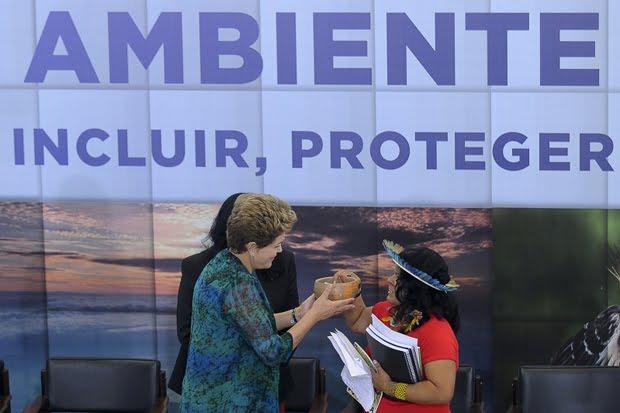 Dilma durante a cerimônia de comemoração do Dia Mundial do Meio Ambiente, no Palácio do Planalto