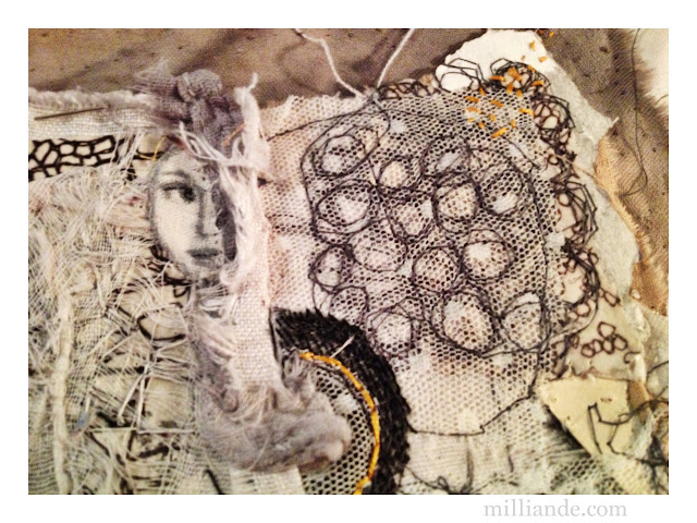 She who becomes between Awake and Dreaming - UnRuly Cloth & Canvas Art @ milliande.com, Contemporary Textile Art Gallery