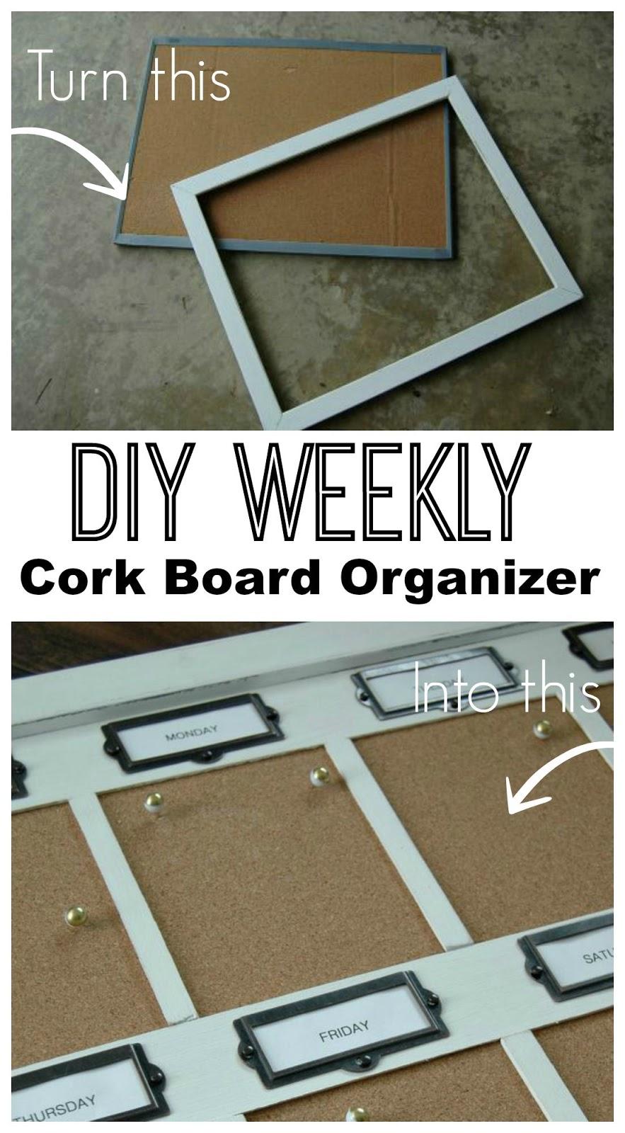 diy weekly cork board organizer