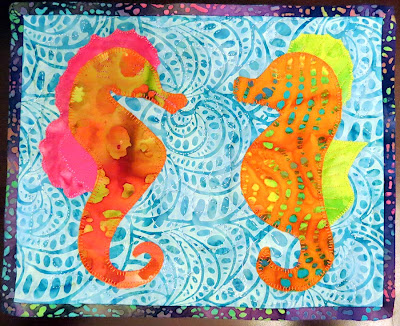 Batik Seahorses Mug Rug with doodle quilting