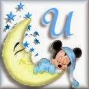 Alfabeto de Mickey Bebé durmiendo en la luna U.