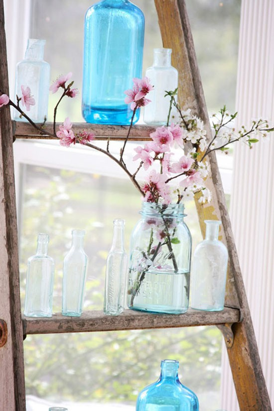 Decorating with ladders 25 creative ways the cottage market - How to decorate with spring flowers ...