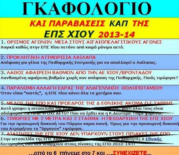 ΓΚΑΦΟΛΟΓΙΟ ΕΠΣ ΧΙΟΥ 2013-14