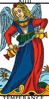 Carta de la Templanza en el tarot