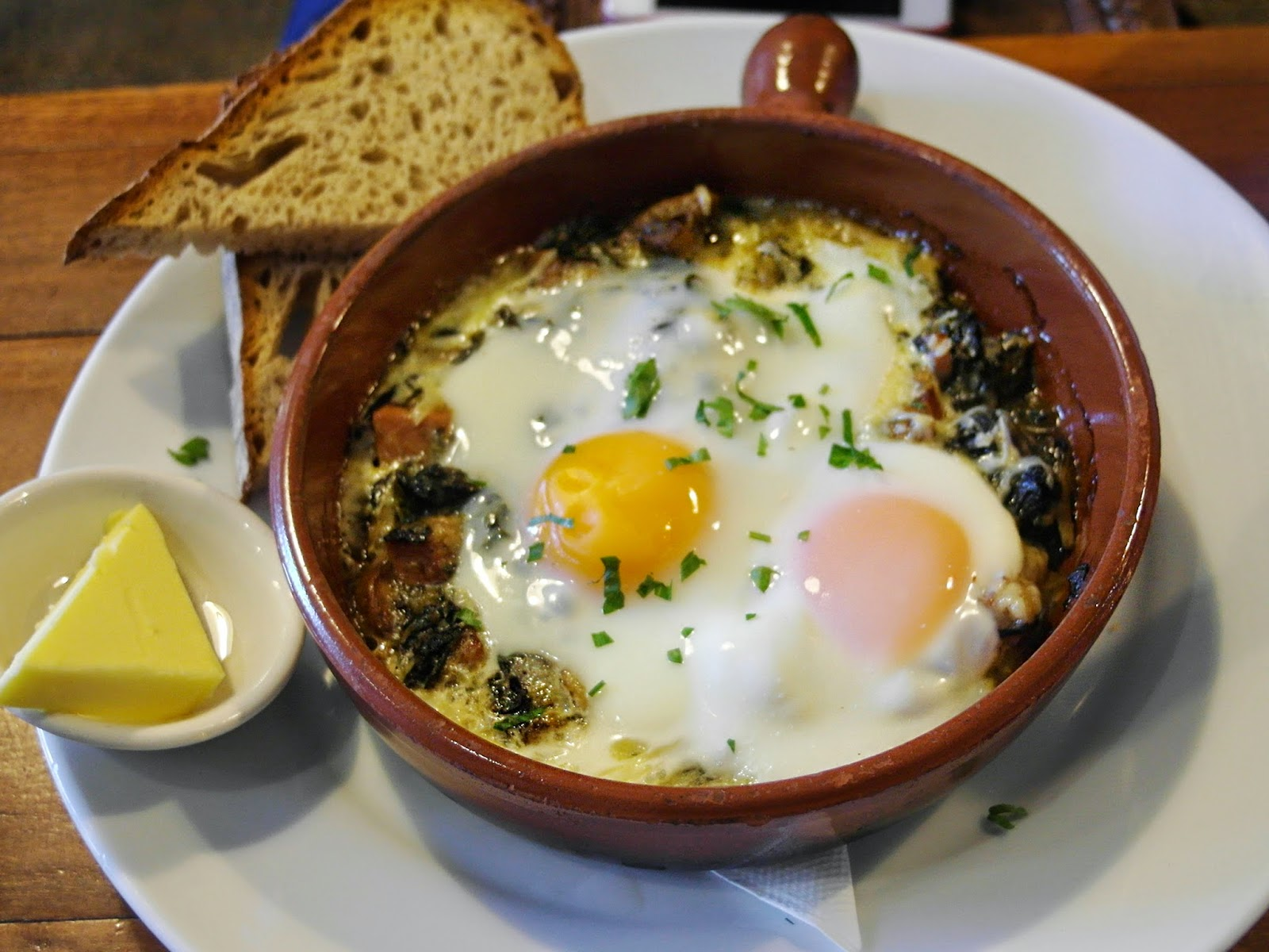 ... , spinach and leek baked eggs with mushroom, parmesan and sourdough