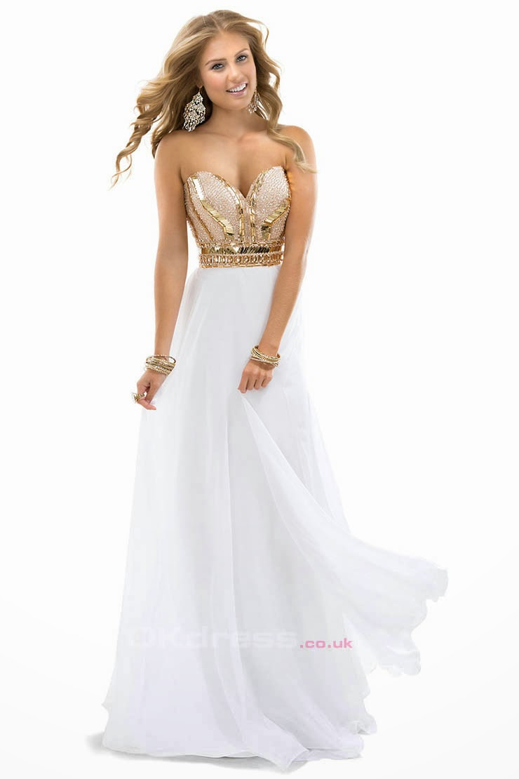 Beaded Sweetheart Chiffon White Empire Long Prom Dresses