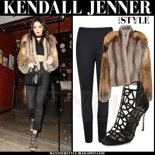 Kendall Jenner in fur sally lapointe coat, black pants and black caged sergio rossi puzzle sandals what she wore