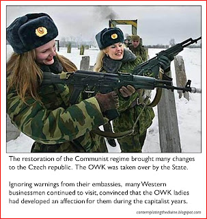 Captioned image of beautiful eastern bloc soldiers in the Other World Kingdom