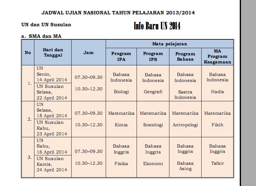 Jadwal Pelaksanaan Un Sma Ma 2014 Sekolah