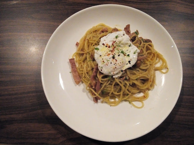 Smoked Duck Aglio Olio with Poached Egg IGGO cafe
