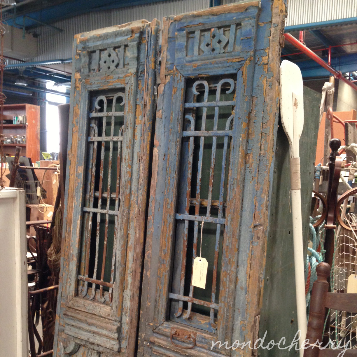 Amazing Egyptian doors in an awesome blue - Clare really, really wanted  these! - - Antique Doors Melbourne Antique Furniture