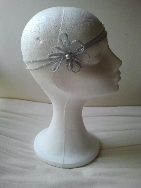 cinta, bodas, crin, plateada, tocados económicos, cintas para el pelo