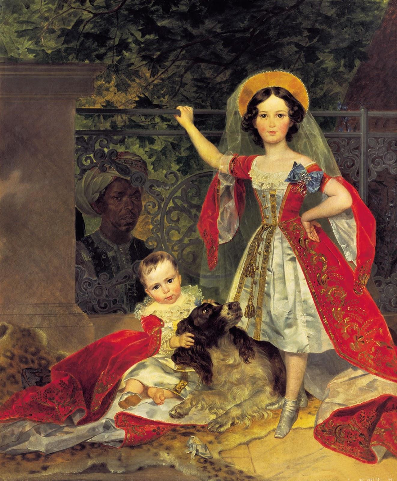 Karl   riullov  Portrait  of  the  Children  Volkonskiye  with  Negro C