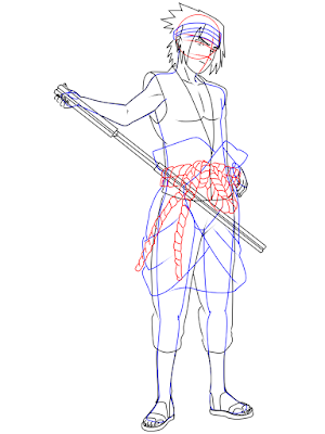 menggambar sasuke uchiha black costume langkah 19