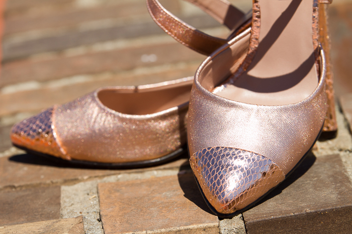 Rose Gold Leather embossed Stilettos byJOAQUIM FERRER