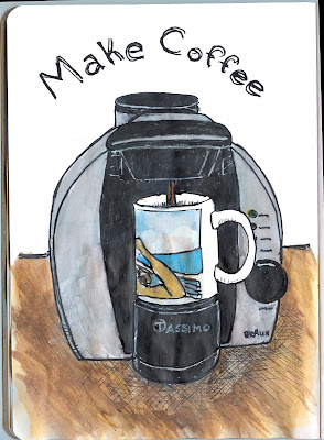 Tassimo Coffee Maker, making coffee in the morning. Pen and ink with watercolour. By Ana Tirolese ©2012