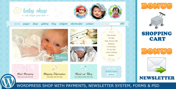 Cute & Sweet WordPress Shop and Newsletter Theme Free Download by ThemeForest.