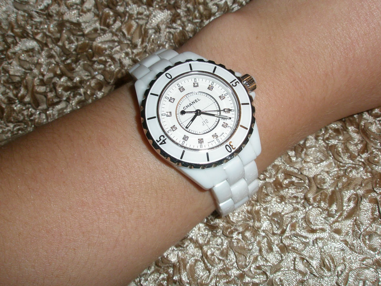 ceramic ladies white bezel watch watches diamond chanel