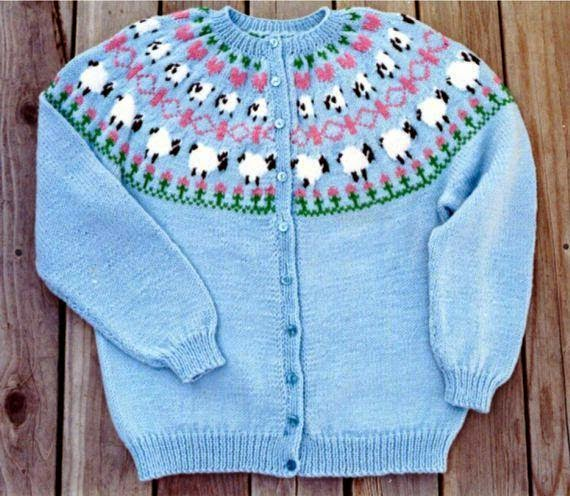 image sheep cardigan knitting pattern light blue with fair isle sheep yoke