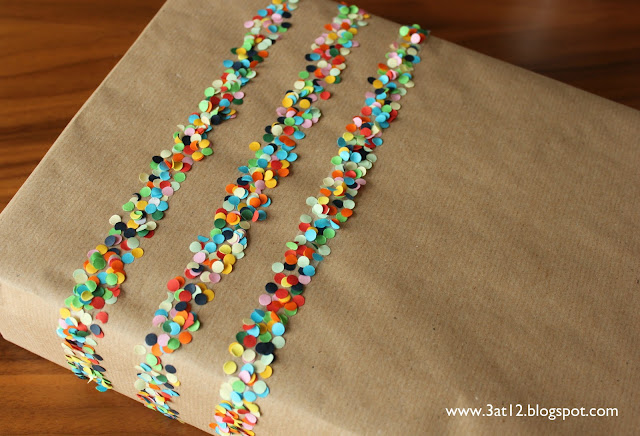 not mass produced gift wrapping ideas hole punch confetti
