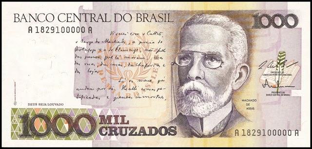 Cédulas Brasileiras: P213a: 1000 Cruzados - L. C. Bresser Pereira / Fernando M. Oliveira