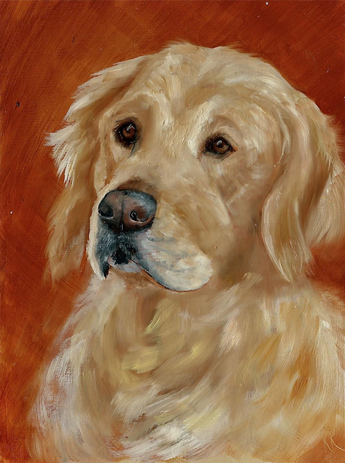 Golden Retriever Oil Painting